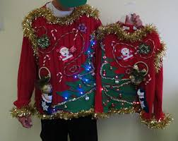 Ugly Christmas Sweater With Lights Homemade Custom 3 D Hysterical Reindeer Tacky Ugly Christmas