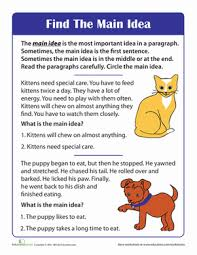 finding the idea of a story worksheet education