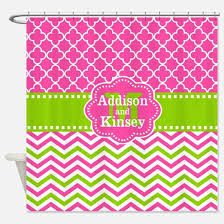 Pink Green Shower Curtain Pink Chevron Shower Curtains Cafepress