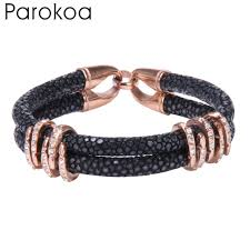 luxury leather bracelet images Trendy black leather bracelet with rose gold stainless steel beads jpg