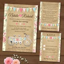 wedding invitation set tandem bike bunting wedding invitation set elisa by design