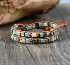 bracelet bead leather images Women leather bracelets high end mix natural stones 2 strands wrap jpg