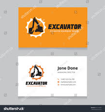 excavator vector logo business card template stock vector