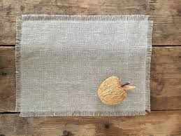 burlap placemats with frayed edges set of linen placemats