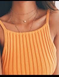 gold orange necklace images Shirt tank top orange top orange knitted top top crop tops jpg