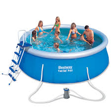 deep 15ft 4 5m fast set inflatable swimming pool set bestway uk