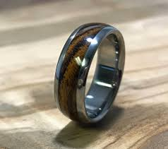mens wedding bands wood inlay titanium ring wedding ring wood ring bocote ring wood inlay