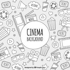 sketches of cinema objects background vector free download