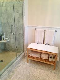 Teak Shower Seat Bathroom Chic Curved Rail Seat Teak Shower Bench With Shelves As
