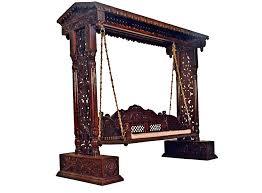 jali flower design wooden carved maharaja swing set indoor jhula