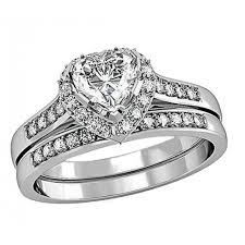 womens wedding ring sets women s aaa cubic zirconia heart cut sterling silver engagement