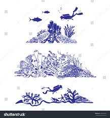 underwater world scuba diver swimming over stock vector 504936940