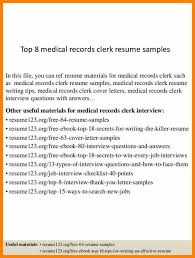Unit Secretary Resume Medical Records Cover Letter Cover Letter Template Clerk Sample