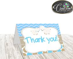 little lamb blue thank you card baby shower boy blue theme