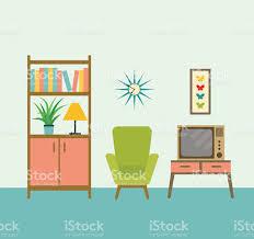 Retro Living Room Art Flat Retro Interior Living Room Vector Illustration Stock Vector