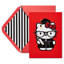 papyrus hello kitty graduation card with dimensional attachments
