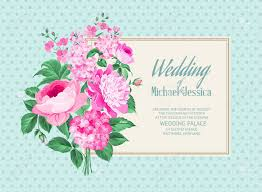 awesome vintage label of color flowers wedding card and