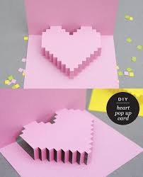 maiko nagao diy pixelated heart pop up card for valentines day