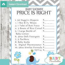 price is right baby shower blue elephant baby shower bundle d105 baby printables