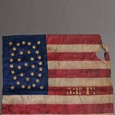 Civil War Flags For Sale Civil War Pennsylvania 53rd Regiment Pieced And Gilt Stenciled
