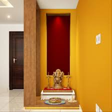 divine space pooja unit with golden wallpaper home pooja room