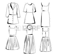 wardrobe sketch hand drawn clothes shop dress and clothes for