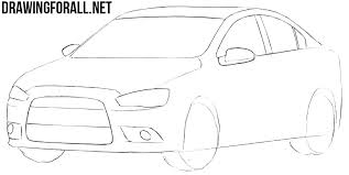 how to draw a mitsubishi lancer drawingforall net