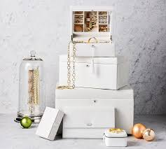 Jewelry Armoire Under 50 Mckenna Leather Medium Jewelry Box Pottery Barn
