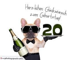 geburtstagssprüche 20 glückwunschkarte mit hund zum 20 geburtstag geburtstagssprüche welt