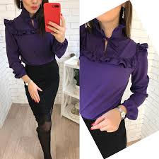 purple blouses 2018 fashion trend ruffle purple blouses shirt