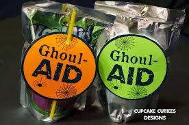 halloween kool aid cupcake cutiees juice box halloween labels ghoul aid party
