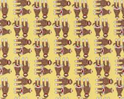 Sock Monkey Fabric Funky Monkey Fabric Etsy