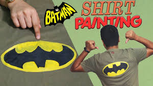 diy batman t shirt painting at home how to paint batman logo on