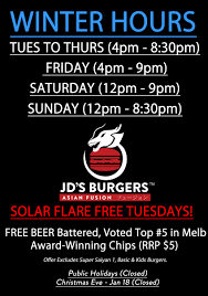 winter opening hours solar flare free tuesdays jd s burgers