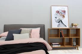modern designer slatted bed queen size grey
