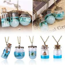 wish bottle necklace images Blue sea ocean glass wish bottle necklaces pendants 5 minute deals jpg