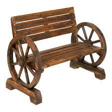 Concrete Patio Bench Wagon Wheel Wooden Bench