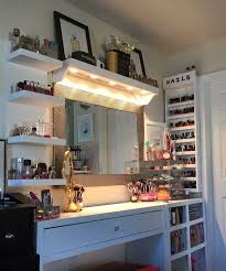 Bedroom Vanities With Lights Vanity And Makeup Storage Ideas I Like The Lights Shining Down