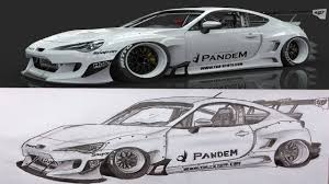 subaru brz rocket bunny white pencil drawing subaru brz pandem rocket bunny youtube