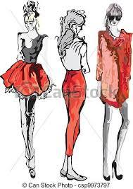 vectors illustration of fashion model hand drawn fashion model