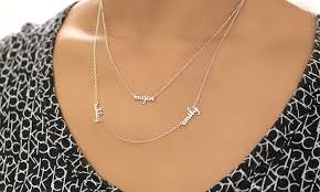 necklace with name online images Double layer mini name necklace groupon goods jpg