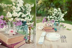 jar table decorations wedding table setting ideas vintage books blue jar