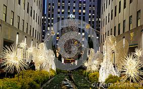 angel christmas decorations and christmas tree at the rockefeller