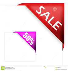 ribbon for sale corner ribbon with sale sign and fifty percent stock