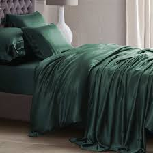25 momme hunter green silk bed linen
