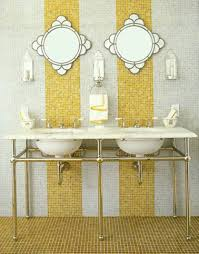 half bath design with mosaic tiles and double console sinks and