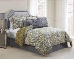 7 piece jezebel gray yellow reversible comforter set 7 piece queen jezebel gray yellow reversible comforter set