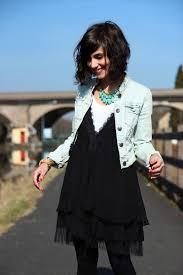 streetstyle fashion u2013 black chiffon dress and jean jacket
