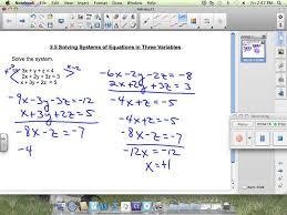 lesson 3 5 solving systems of equations in three variables youtube