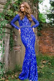 royal long fitted long sleeve fully embellished backless dress